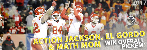 Action Jackson, Math Mom, and El Gordo win overall pickem